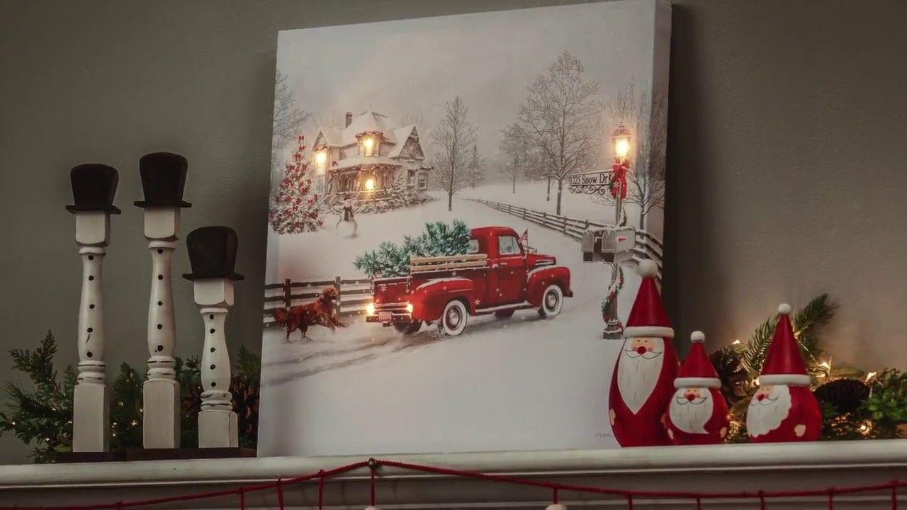 Vintage Truck Led Light Up Canvas Wall Art 6ltc6190 Christmas Canvas Art Diy Christmas Canvas Art Light Up Canvas