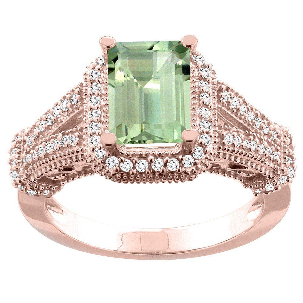 10K Rose Gold Natural Green Amethyst Ring Octagon 8x6mm