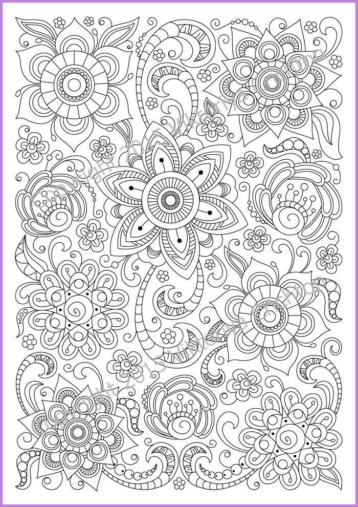 Сoloring Page Doodle Flowers Printable Zen Pdf Zentangle Rhpinterest: Colouring Pages Adults Pdf At Baymontmadison.com