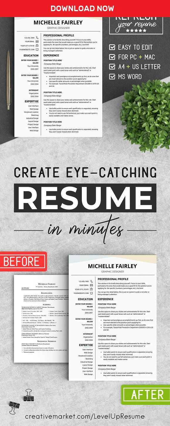 Eye Catching Resume Templates Professional Resume Template #mflevelupresume On