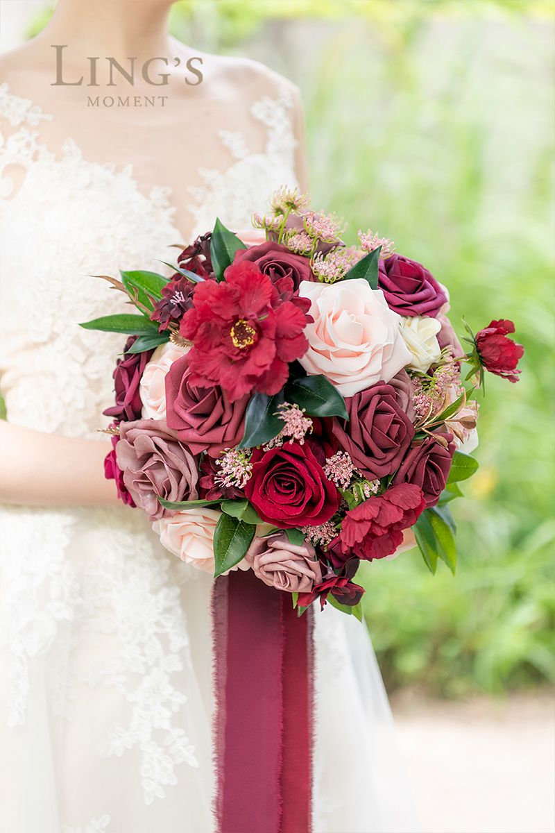 Fall Wedding Decor More Burgundy Dusty Rose Floral Decor 10 Off In 2020 Red Bouquet Wedding Blue Wedding Decorations Wedding Reception Centerpieces Flowers