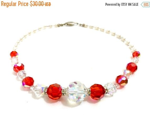 Red and Clear Glass Crystal Necklace Art Deco by #vogueteam #Vintageimagine #crystalnecklace #redandwhitenecklace #etsygifts