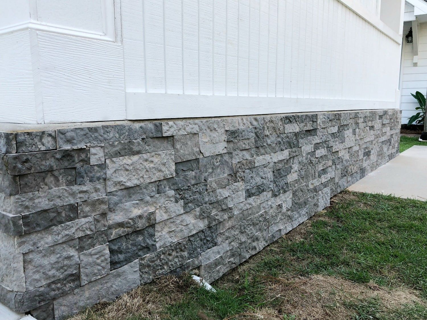 Use Airstone To Cover Unsightly Cement Block Foundation Stone Siding Exterior House Foundation Brick Siding
