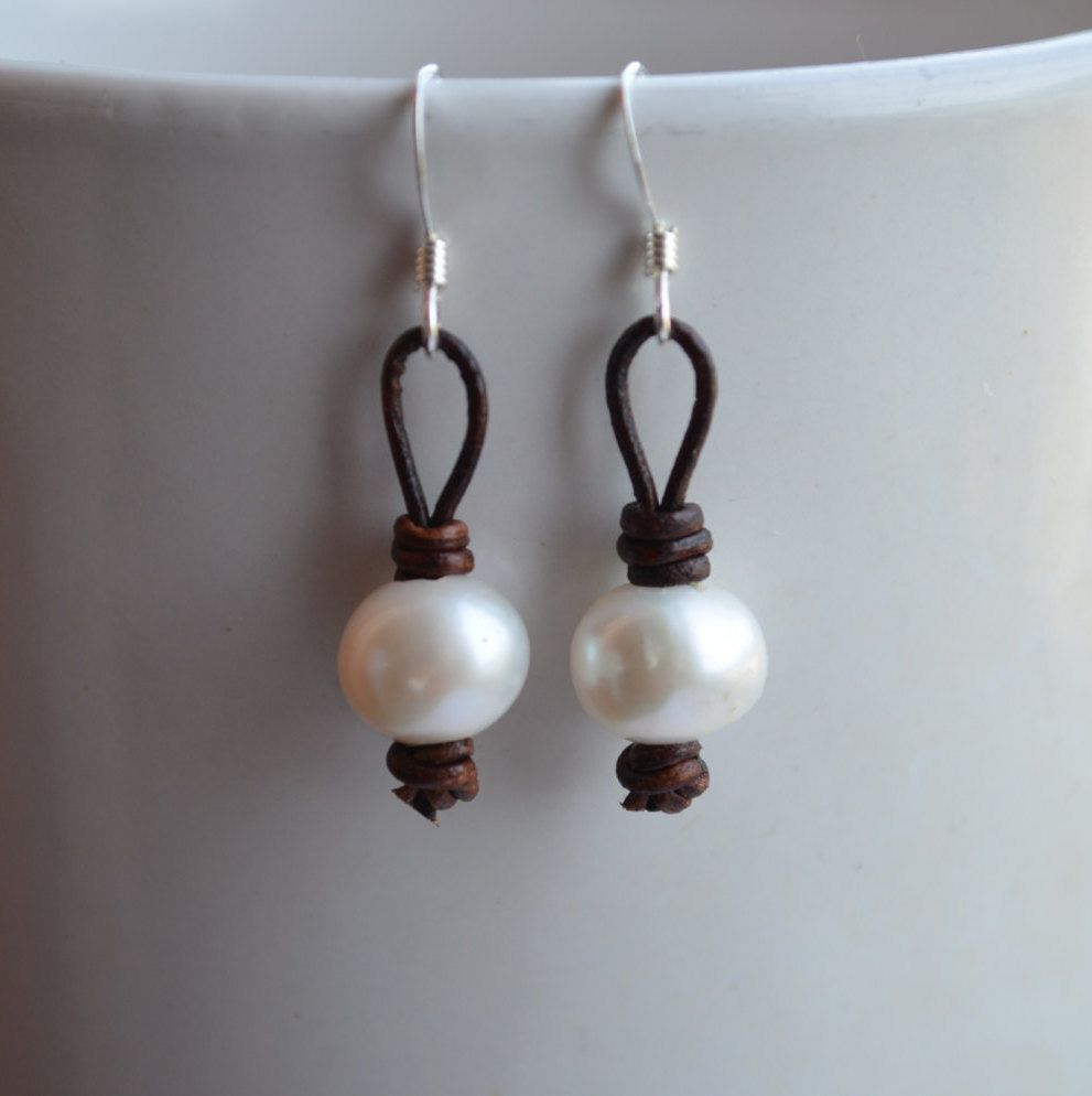 White Pearl Earrings, Leather and Pearls Earrings, Dangle Earrings, Pearls On Leather Dangles, Mother's Day Gift,Jewelry By Yevga by JewelryByYevga on Etsy