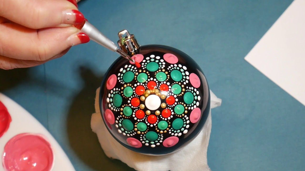 How To Paint Dot Mandalas 31 Christmas Ball Youtube Christmas Mandala Painted Christmas Ornaments Christmas Ornament Crafts
