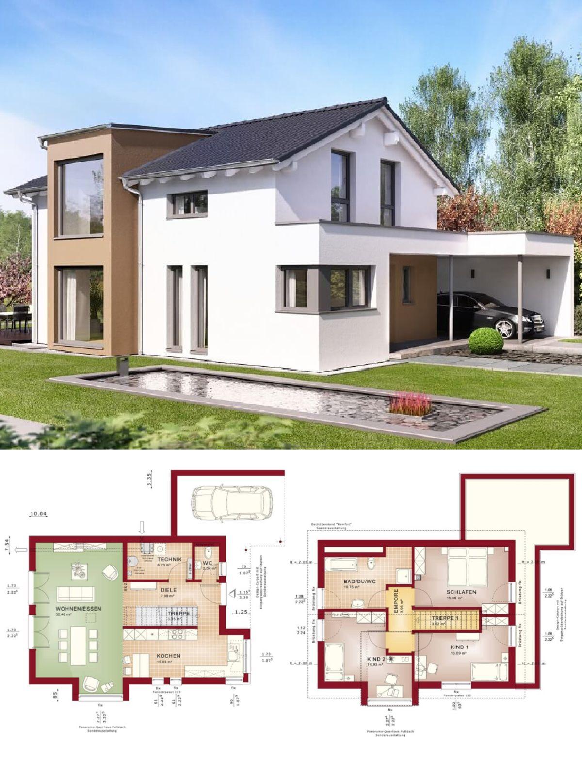 Einfamilienhaus modern mit satteldach architektur design carport haus bauen grundriss - Architektur einfamilienhaus modern ...