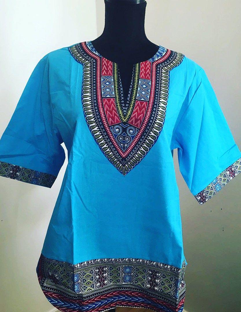 df3ad625ab9 Blue African dashiki shirt top