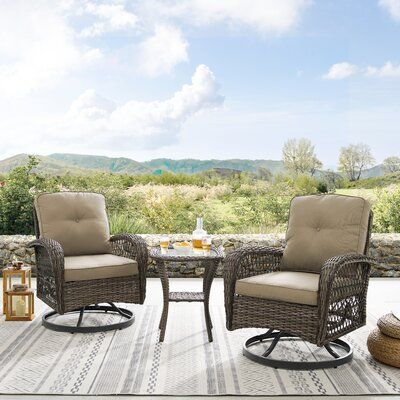 Coastal Farmhouse Hanwell 3 Piece Rattan Seating Group With Cushion Patio Furniture Deals Outdoor Rocking Chairs Outdoor Furniture Sets