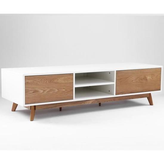 meilleure sélection ba90d 1332c Meuble TV design ANNECY 174 cm chêne et blanc - Achat ...