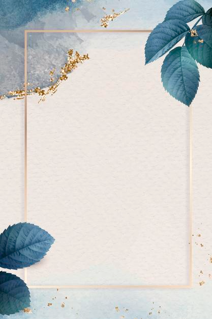 Download Rectangle Gold Frame With Foliage Pattern Background for free