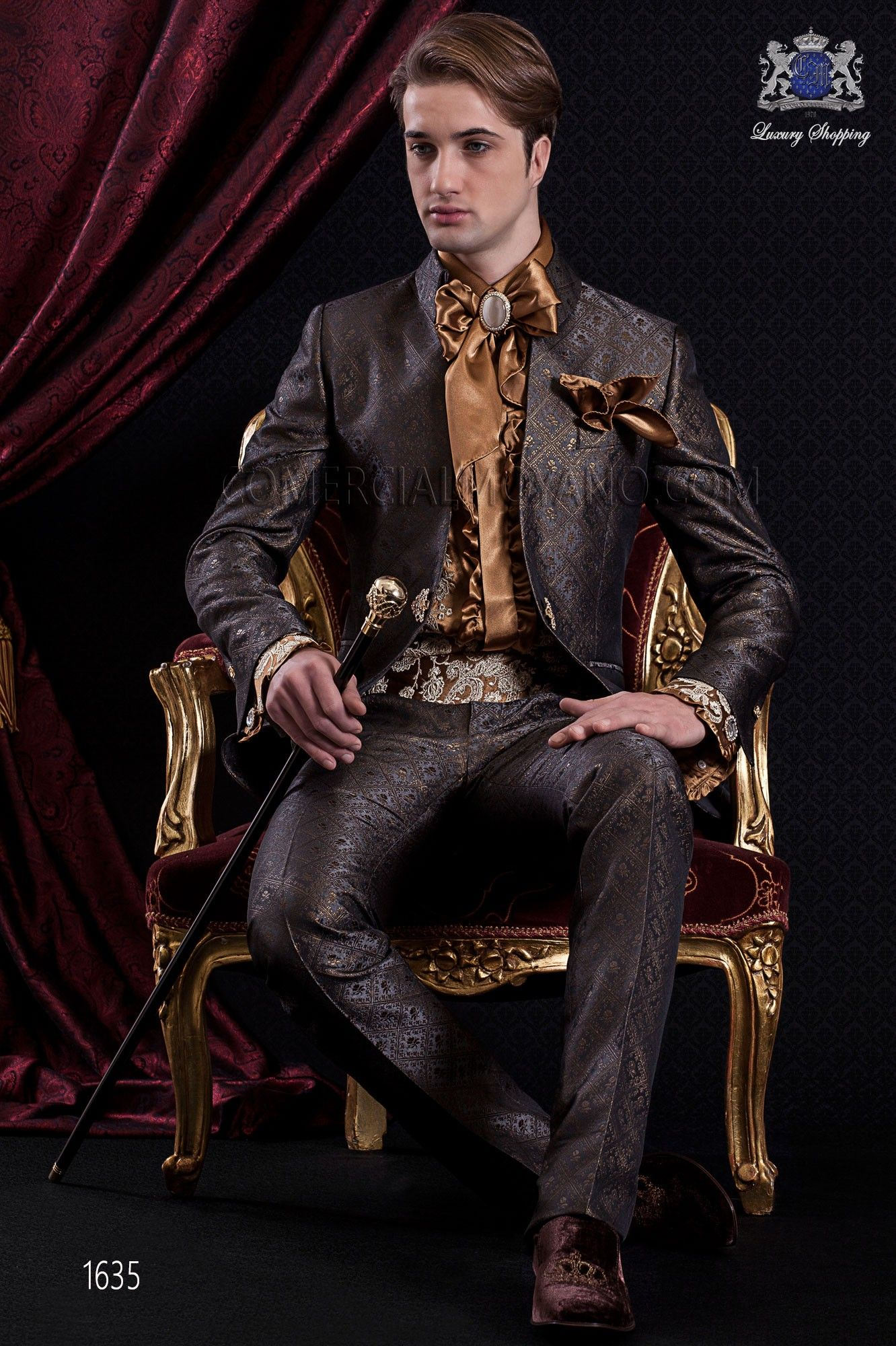 Anzug Barock. Klagemantel der grauen Zeitgold jacquard