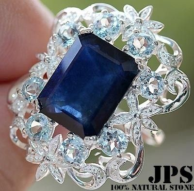 STUNNING 12.0 BLUE, WHITE SAPPHIRE & BLUE TOPAZ RING SOLID 925SS S#7  100% GUARANTEE SOLID 925 STERLING SILVER + GEM REPORT