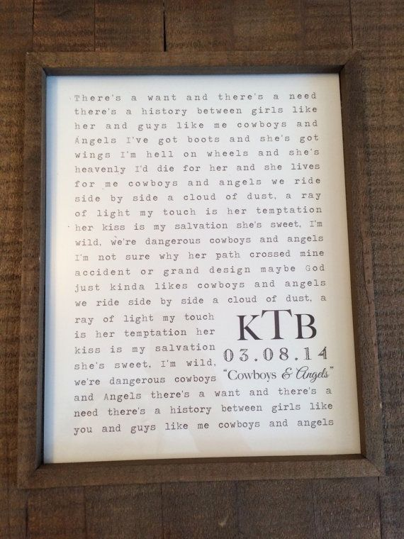 Beautiful Gift For Your One Year Paper Anniversary Wedding Song Lyrics Framed As A Constant Reminder Of That Special Day Born Again By Third