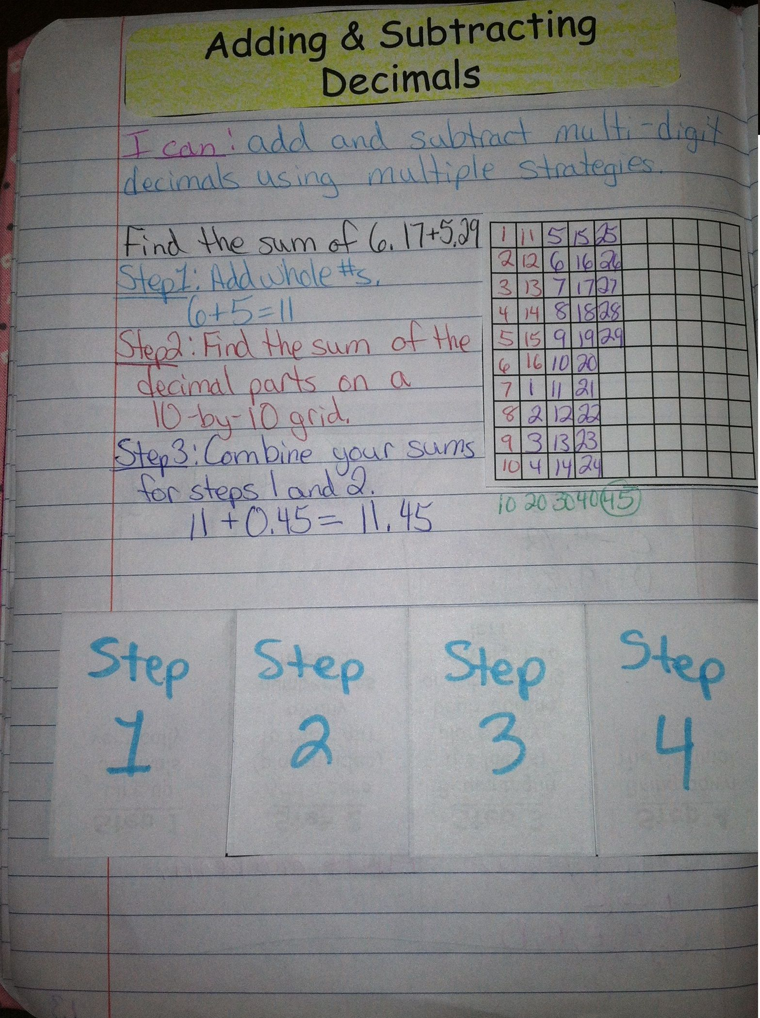 Adding and Subtracting Decimals Interactive Notebook Foldable ...