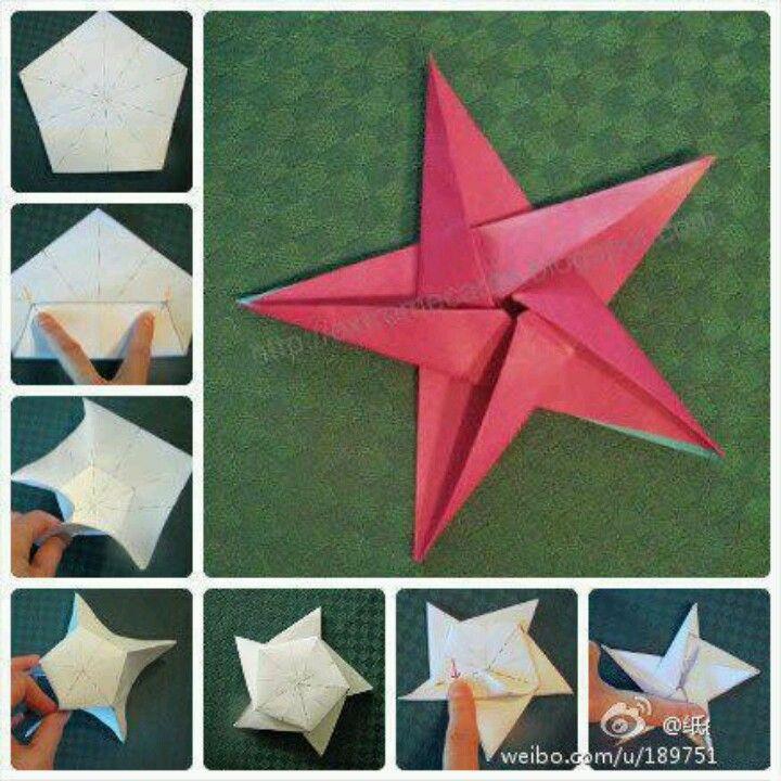 tuto origami etoile 5 branches