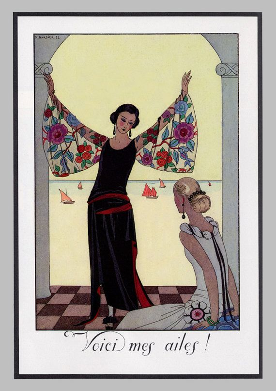 This delightfully chic French Art Deco Powder room print taken from our own 1980s collection of books shows a beautiful Art Deco print from