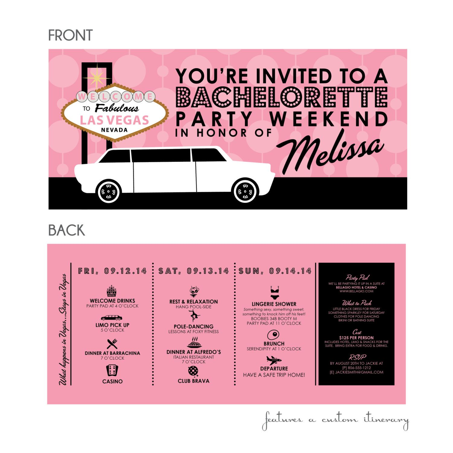 Vegas Baby Bachelorette Party Invitations by kreativees on Etsy ...
