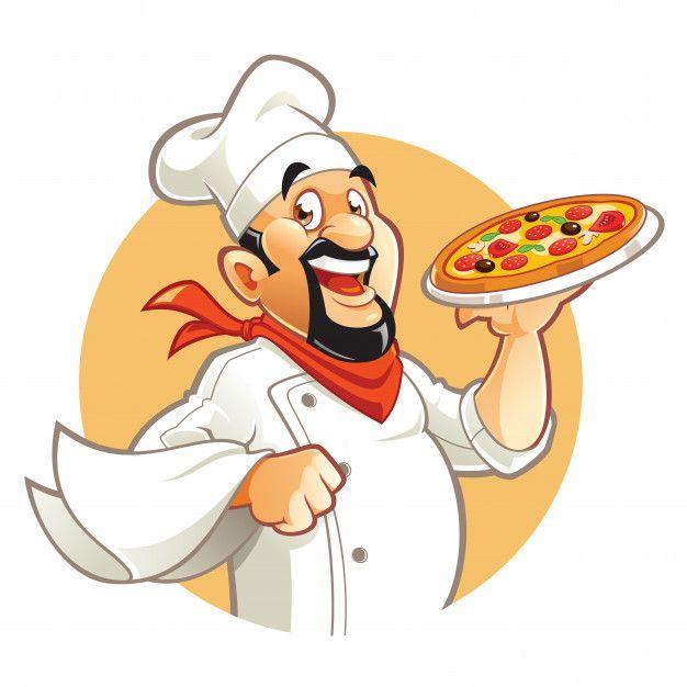 Smiling Pizza Chef Cartoon Character Pizza Chef Pizza Cartoon Pizza Art