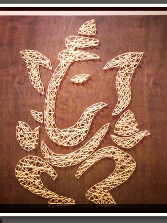 Gold Ganesh. String art. by Designsbydinachopra on Etsy
