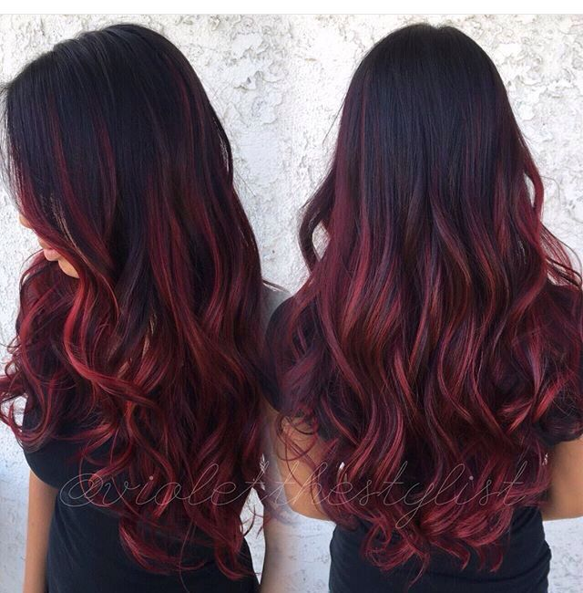 Love This Maroon Colour Red Balayage Hair Red Ombre Hair Burgundy Hair