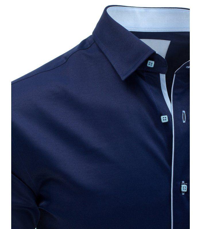 4851b6a8eacb Pánska tmavomodrá elegantná košela s krátkym rukávom