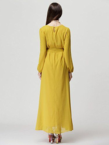 c7e12bd0cea Choies Women s Chiffon Long Sleeve Shift Maxi Dress With Belt M List Price    26.99 Sale Price   22.99