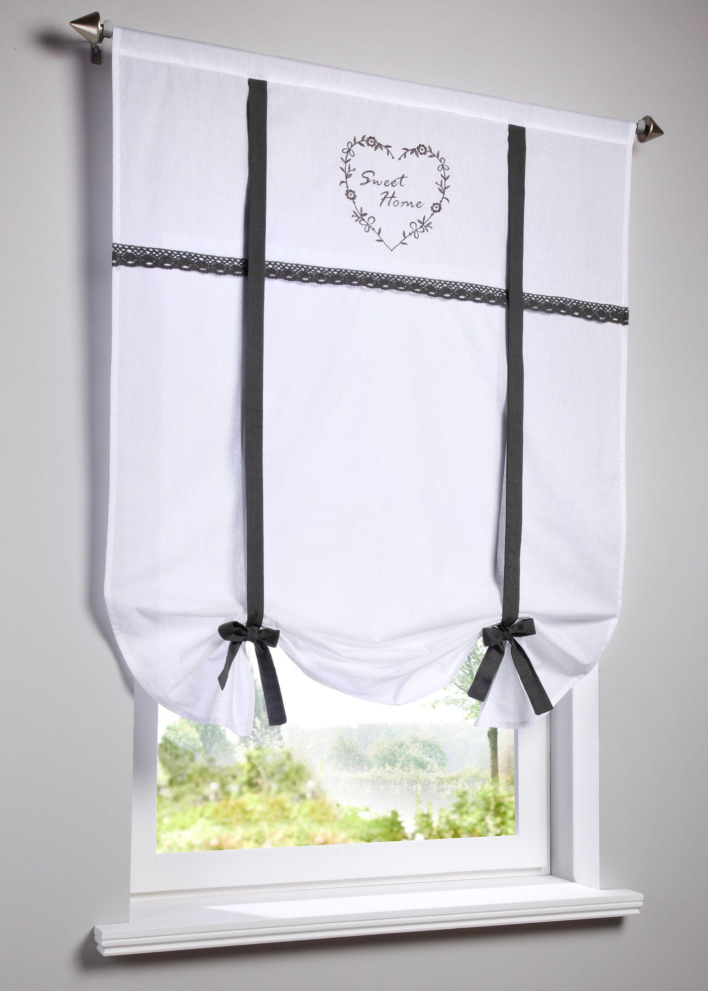 Bestickte Bindegardine Mit Hakelkante Vorhange Landhausstil Gardinen Und Dachfenster Rollo