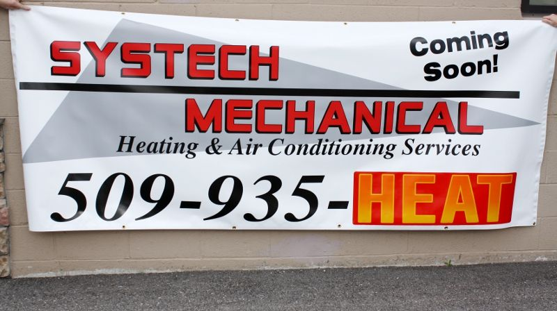 Systech Mechanical Coming Soon Banner 13 Oz Vinyl 4x10 Air Conditioning Services Heating And Air Conditioning Banner