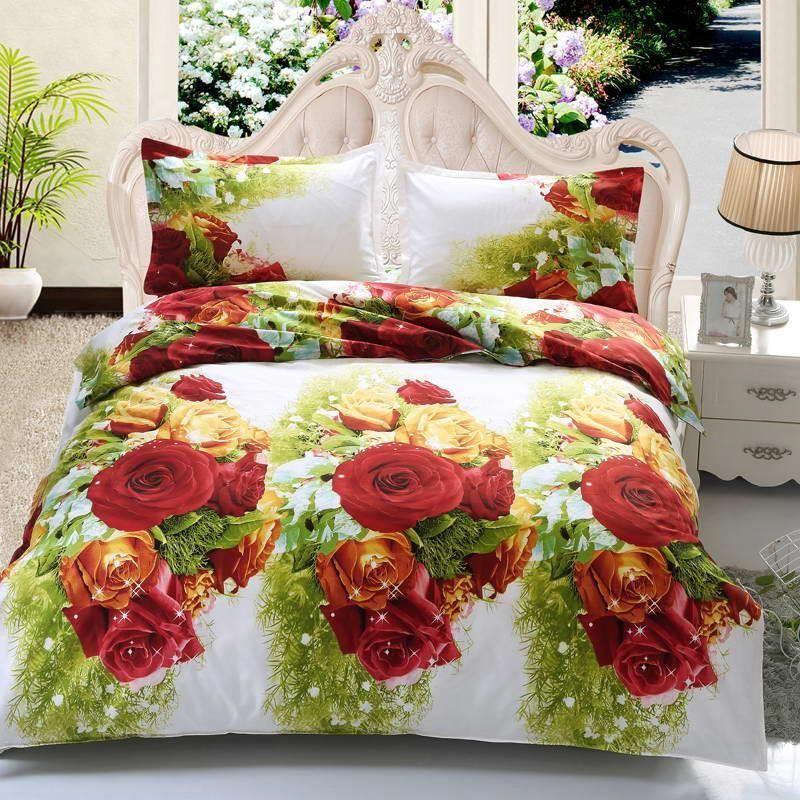 New Style White Red Flower 3D Bedding Set of Duvet Cover