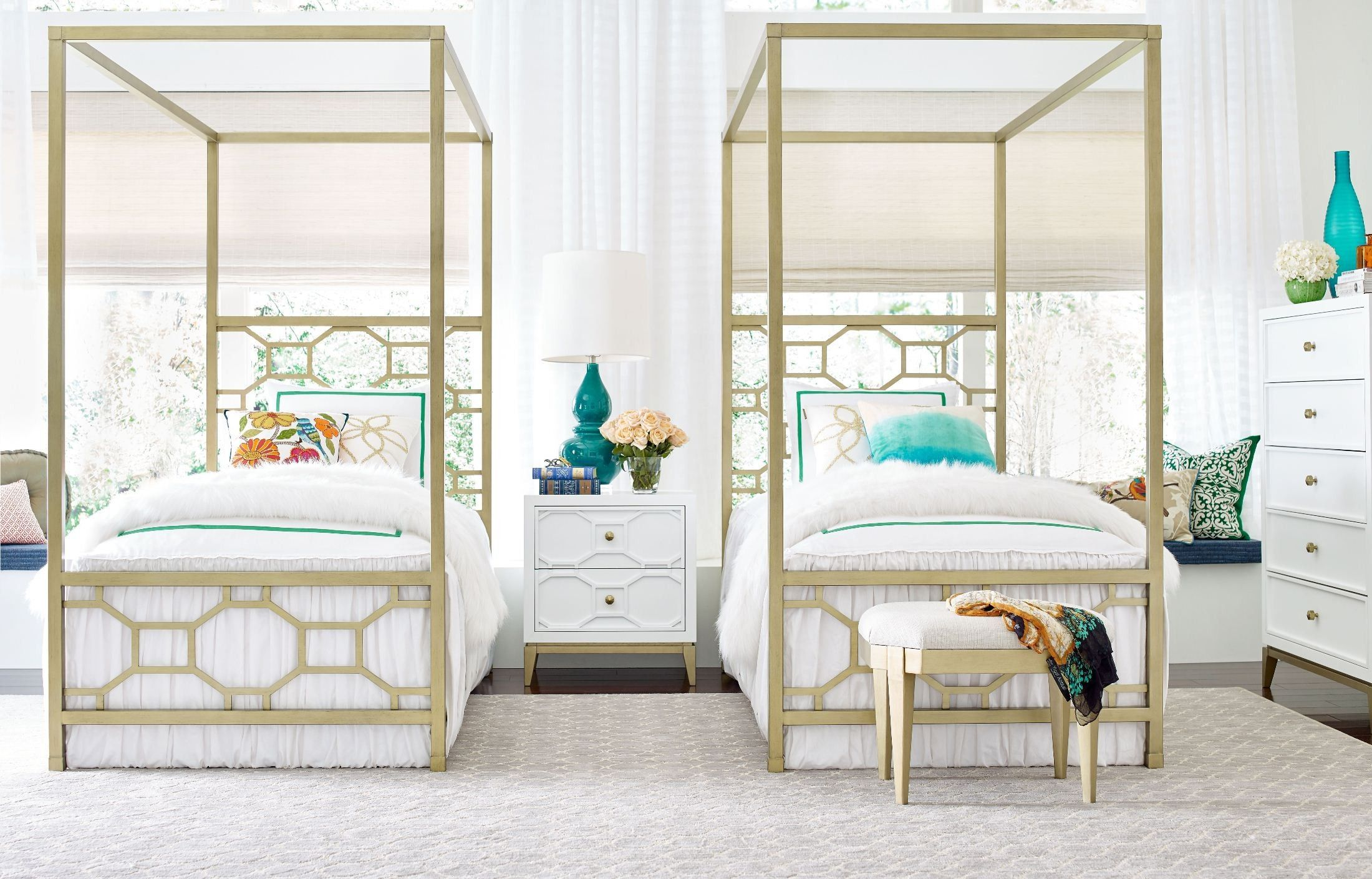 Uptown White and Gold Youth Metal Canopy Bedroom Set by
