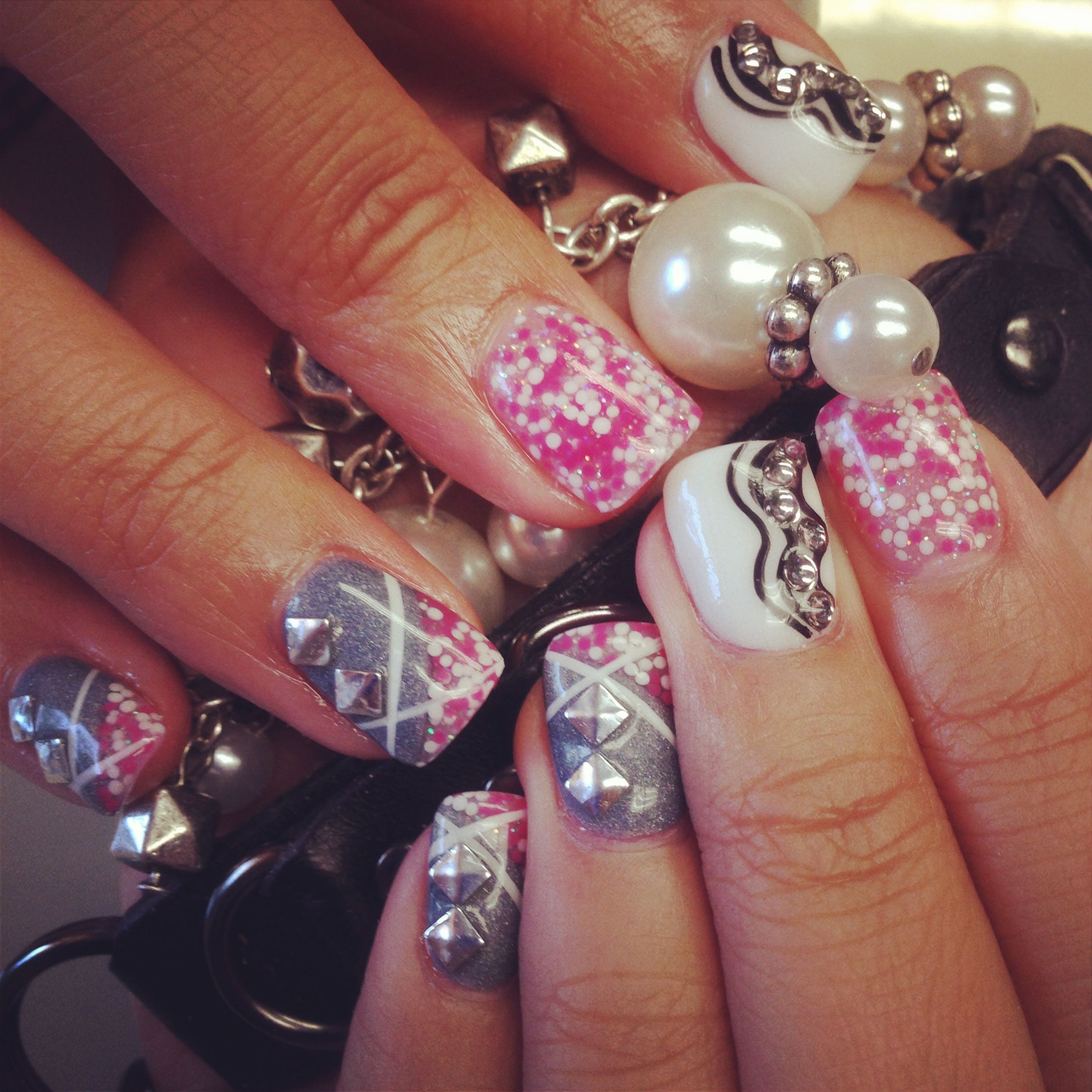 Retro Chic Nail Design With Caviar Nails By The Haute Spot