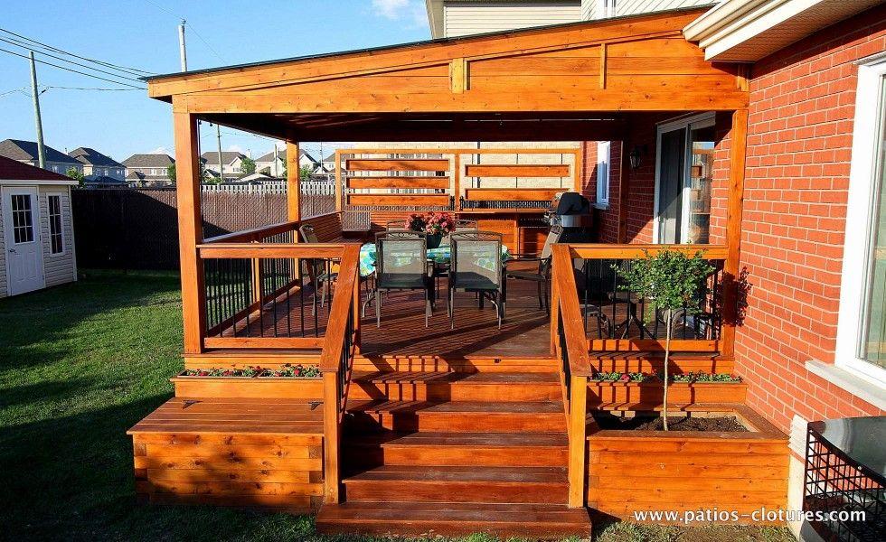 visuel sur am nagement des bacs fleur dd escalier d 39 acc s au patio avec pergola ideas for. Black Bedroom Furniture Sets. Home Design Ideas