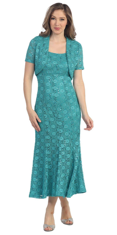 Flared Scoop Neck Sage Green Tea Length Concert Dress | Products ...