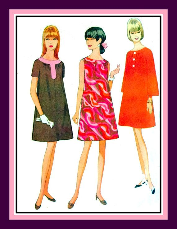 Vintage 1967-SUPER MOD DRESS-Sewing Pattern-Three Styles-Trapeze ...