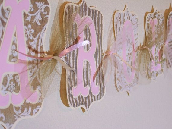 Custom wedding shower anniversary 50th name banner gold pink family