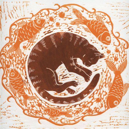 """The Cat's Dream"" - linocut print (ca. 1950-2000) by Anne Hutchings"