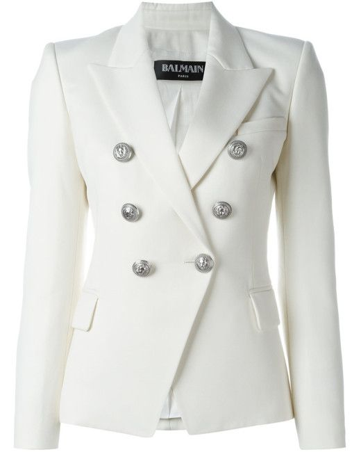 53db41cf Women's White Double-breasted Wool Jacket   White Hot   Double ...