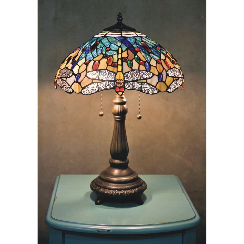 Tiffany-style Yellow Dragonfly Table Lamp, Blue