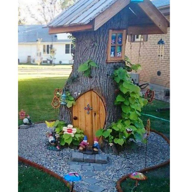 tree stump fairy and gnome house creative ways to add color and joy to a garden porch or yard with diy yard art and garden ideas - Flower Garden Ideas For Under A Tree