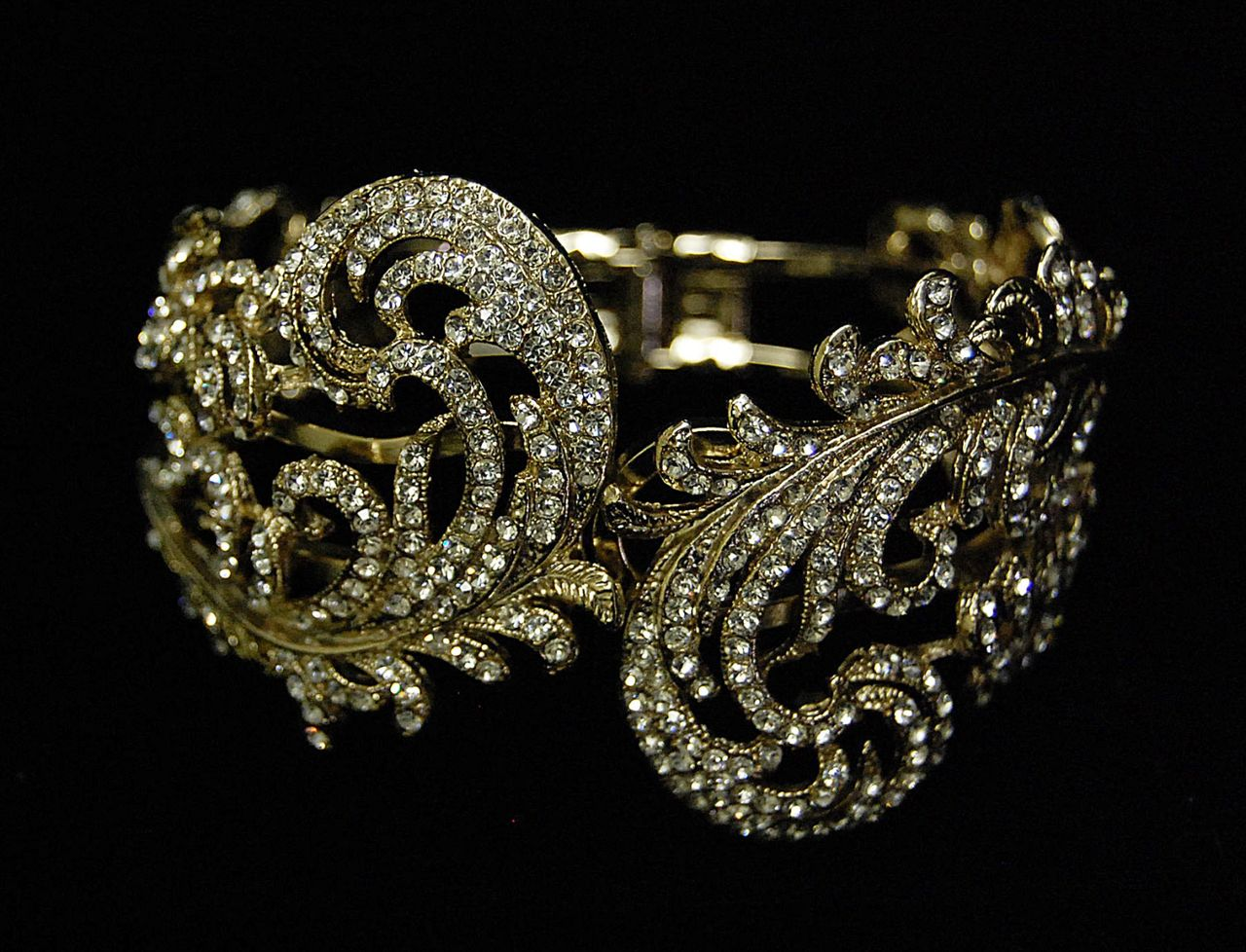 Leaf Design Cuff Art Deco Wedding Bracelet in Gold,  - Affordable Elegance Bridal -