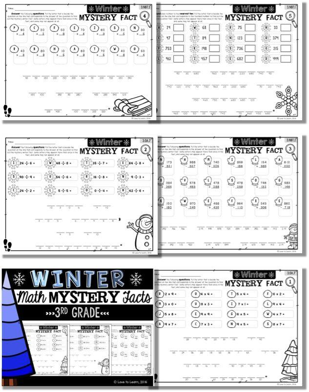 Winter Math Mystery Facts **3rd Grade | Math facts, Math and ...