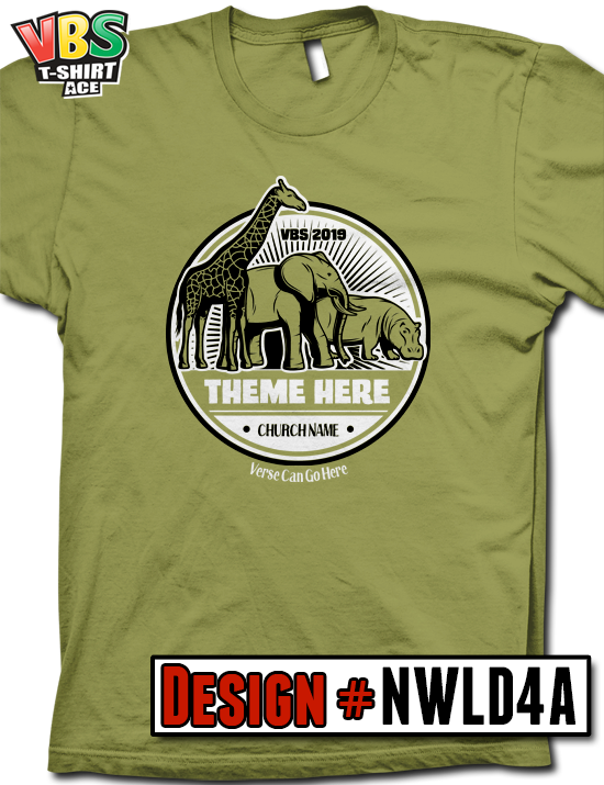 e3817e5d4aab Customize your 2019 VBS shirt design for In the Wild, Roar, or any Jungle  theme. You pick the shirt color, ink colors, and the wording.