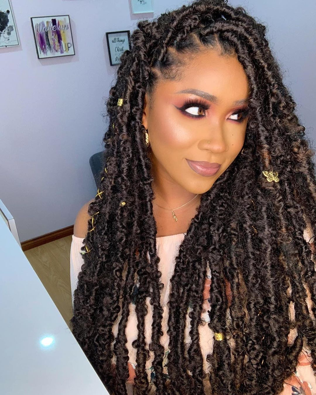 Loc D By Jordz On Instagram This Gorgeous Doll Rocking Her Kailani Locs Makeup Makeups Faux Locs Hairstyles Braided Hairstyles Natural Hair Braids