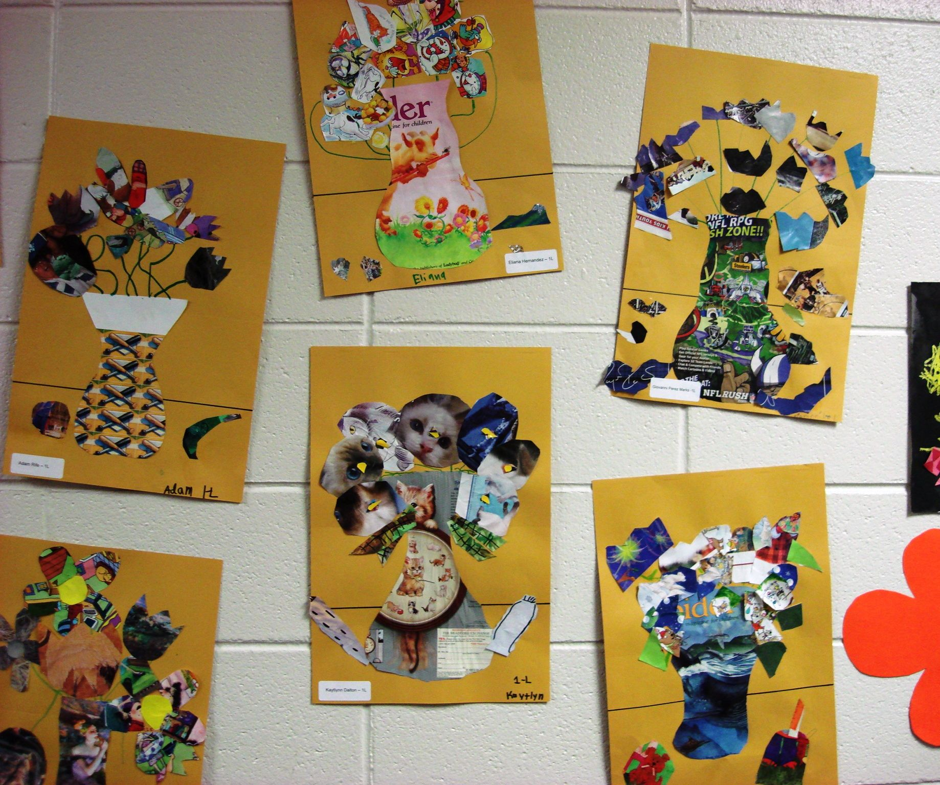 More Magazine Collage Floral Still-life  1st & 2nd Grade