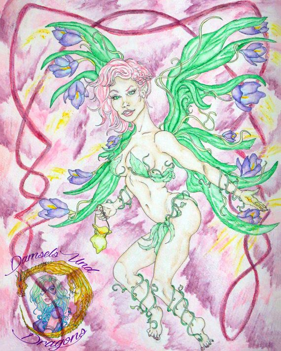 "The Spring Faerie - 8"" x 10"" Print- Seasonal Fairy Art - Fantasy Pin Up"