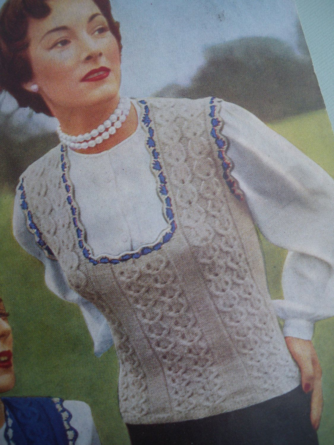 Vintage 1940s 1950s Knitting Pattern Womens Waistcoat and Pullover / Vest / Jerkin - 40s 50s original pattern. $16.00, via Etsy.