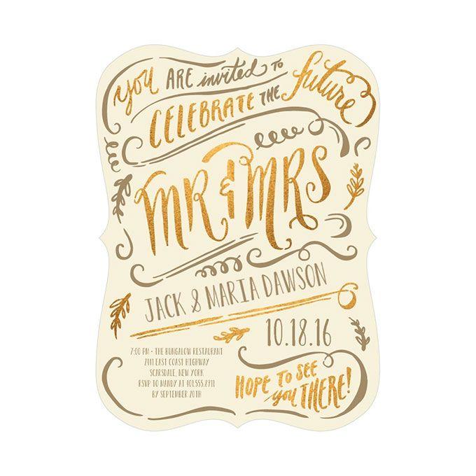 "Brides.com: . ""Magic Marker"" engagement party invitations, $149 for 100 invitations, Wedding Paper Divas"