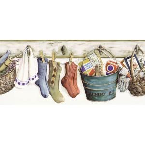 The Wallpaper Company 8 In X 10 In Multi Colored Laundry Border Sample Discontinued Wc1282561s The Home Depot Laundry Room Wallpaper Wallpaper Companies Wallpaper