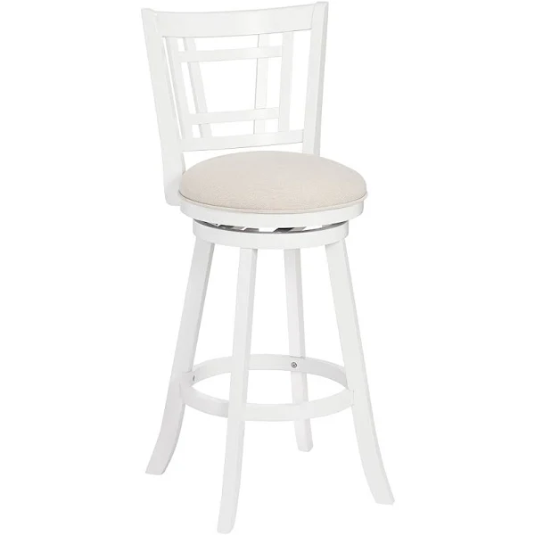 Corliving Woodgrove 29 In White Wood Swivel Barstools With White