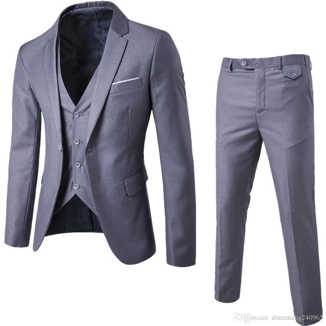 2018 New Fashion Designer Men Suit Groom Tuxedos Groomsmen Side ...